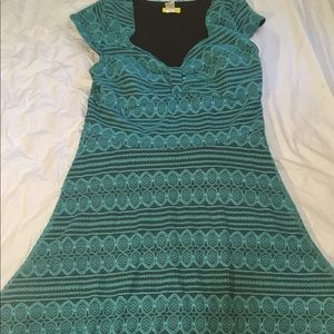 Teal lace a line dress with black underlay 👗